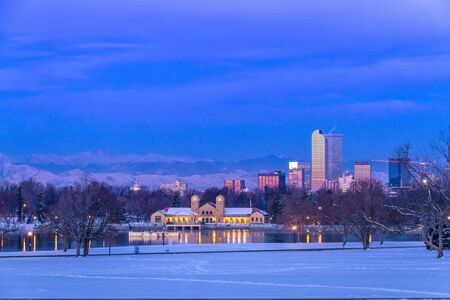 Denver Colorado skyline at sunrise, day after snow storm in winter, from City Park and Denver Museum of Science and Nature Stock Photo - 18063127