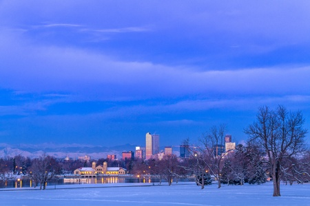 Denver Colorado skyline at sunrise, day after snow storm in winter, from City Park and Denver Museum of Science and Nature Stock Photo - 18063123