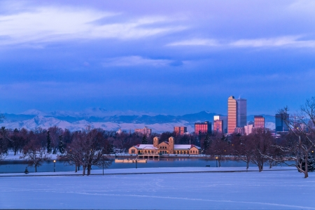 Denver Colorado skyline at sunrise, day after snow storm in winter, from City Park and Denver Museum of Science and Nature Stock Photo - 18063120