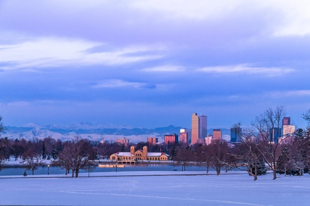 Denver Colorado skyline at sunrise, day after snow storm in winter, from City Park and Denver Museum of Science and Nature Stock Photo - 18063102