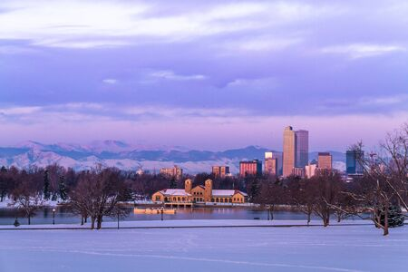 Denver Colorado skyline at sunrise, day after snow storm in winter, from City Park and Denver Museum of Science and Nature Stock Photo - 18063062