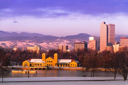 Denver Colorado skyline at sunrise, day after snow storm in winter, from City Park and Denver Museum of Science and Nature Stock Photo - 18063096