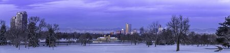 Panorama of Denver Colorado skyline at sunrise, day after snow storm in winter, from City Park and Denver Museum of Science and Nature Stock Photo - 18063129