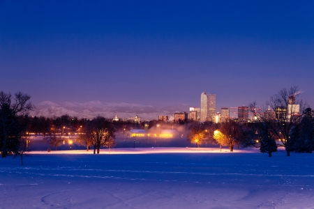 Denver Colorado skyline at sunrise, day after winter snow storm from City Park and Denver Museum of Science and Nature Stock Photo - 18144962