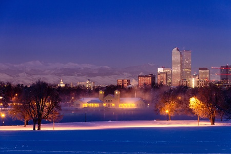 Denver Colorado skyline at sunrise, day after winter snow storm from City Park and Denver Museum of Science and Nature Stock Photo - 18144968
