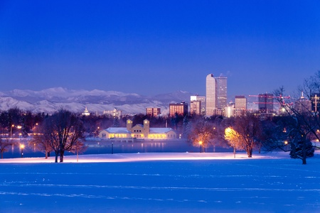 Denver Colorado skyline at sunrise, day after winter snow storm from City Park and Denver Museum of Science and Nature Stock Photo - 18144970