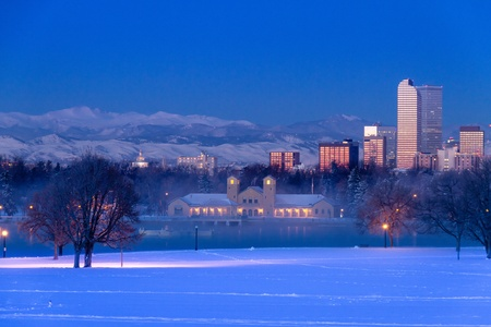 Denver Colorado skyline at sunrise, day after winter snow storm from City Park and Denver Museum of Science and Nature Stock Photo - 18144977