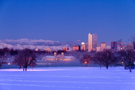 Denver Colorado skyline at sunrise, day after winter snow storm from City Park and Denver Museum of Science and Nature Stock Photo - 18144984