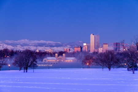 Denver Colorado skyline at sunrise, day after winter snow storm from City Park and Denver Museum of Science and Nature Stock Photo - 18144979