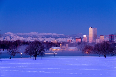 Denver Colorado skyline at sunrise, day after winter snow storm from City Park and Denver Museum of Science and Nature Stock Photo - 18144978