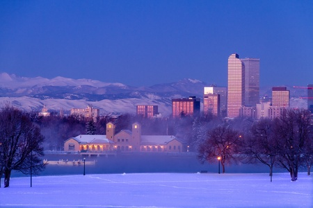 Denver Colorado skyline at sunrise, day after winter snow storm from City Park and Denver Museum of Science and Nature Stock Photo - 18144986
