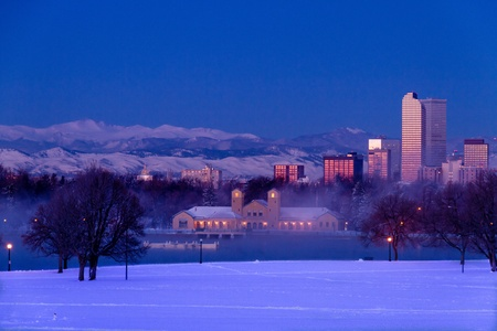 Denver Colorado skyline at sunrise, day after winter snow storm from City Park and Denver Museum of Science and Nature Stock Photo - 18144981