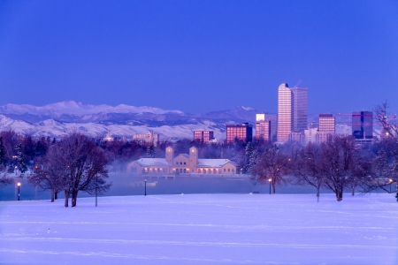 Denver Colorado skyline at sunrise, day after winter snow storm from City Park and Denver Museum of Science and Nature Stock Photo - 18144980