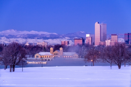 Denver Colorado skyline at sunrise, day after winter snow storm from City Park and Denver Museum of Science and Nature Stock Photo - 18144989