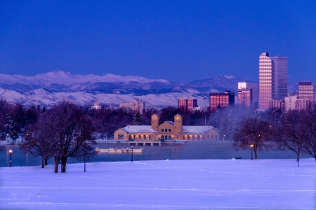 Denver Colorado skyline at sunrise, day after winter snow storm from City Park and Denver Museum of Science and Nature Stock Photo - 18144982