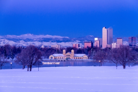 Denver Colorado skyline at sunrise, day after winter snow storm from City Park and Denver Museum of Science and Nature Stock Photo - 18144987