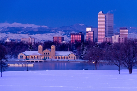 Denver Colorado skyline at sunrise, day after winter snow storm from City Park and Denver Museum of Science and Nature Stock Photo - 18144988