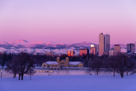 Denver Colorado skyline at sunrise, day after winter snow storm from City Park and Denver Museum of Science and Nature Stock Photo - 18144961