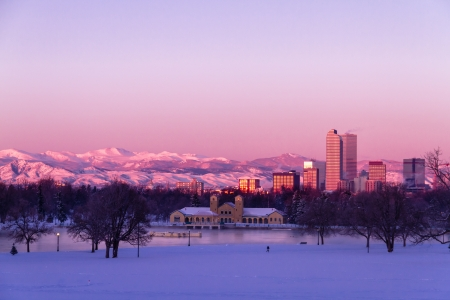 Denver Colorado skyline at sunrise, day after winter snow storm from City Park and Denver Museum of Science and Nature Stock Photo - 18144964