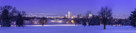 Panorama of Denver Colorado skyline at sunrise, day after winter snow storm from City Park and Denver Museum of Science and Nature Stock Photo - 18144985