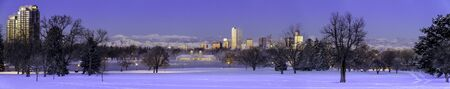 Panorama of Denver Colorado skyline at sunrise, day after winter snow storm from City Park and Denver Museum of Science and Nature Stock Photo - 18167622