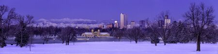 Panorama of Denver Colorado skyline at sunrise, day after winter snow storm from City Park and Denver Museum of Science and Nature Stock Photo - 18167617