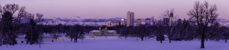 Panorama of Denver Colorado skyline at sunrise, day after winter snow storm from City Park and Denver Museum of Science and Nature Stock Photo - 18167625