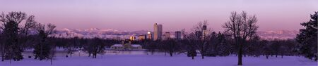 denver city park: Panorama of Denver Colorado skyline at sunrise, day after winter snow storm from City Park and Denver Museum of Science and Nature