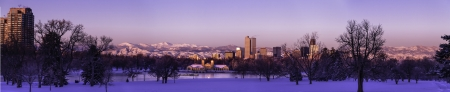 city park boat house: Panorama of Denver Colorado skyline at sunrise, day after winter snow storm from City Park and Denver Museum of Science and Nature