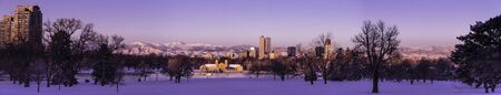 Panorama of Denver Colorado skyline at sunrise, day after winter snow storm from City Park and Denver Museum of Science and Nature Stock Photo - 18167620