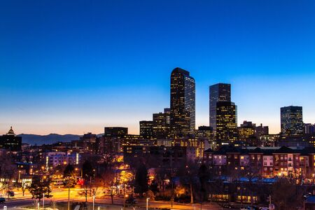 Denver Colorado skyline at dusk during the blue hour with lighted buildings and streets Stock Photo - 18328776