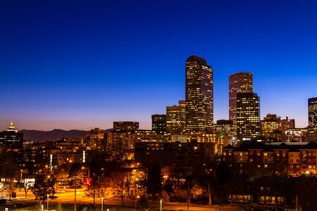 Denver Colorado skyline at dusk during the blue hour with lighted buildings and streets with State Capital building Stock Photo - 18328765