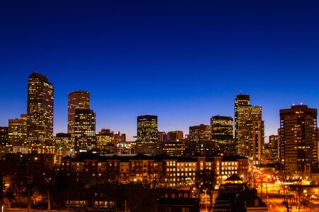 Denver Colorado skyline at dusk during the blue hour with lighted buildings and streets Stock Photo - 18328442