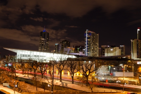 Illuminated Colorado Convention Center and Denver Colorado skyline at night with dramatic winter night sky Stock Photo - 18328773