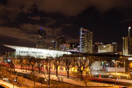 Illuminated Colorado Convention Center and Denver Colorado skyline at night with dramatic winter night sky Stock Photo - 18328773