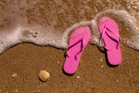 Pink flip flops on a sandy beach with ocean water washing up on shore and sea shells Stock Photo - 18837930