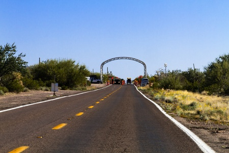 border patrol: US border patrol check point on AZ-85 near the international border of US and Mexico Stock Photo