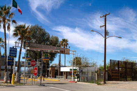 border patrol: Mexico entrance gate at international border of US and Mexico at Lukeville Arizona and Sonoyta Mexico Editorial