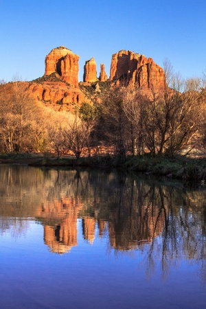 Evening sunset at Cathedral Rock at Red Rocks Crossing on Oak Creek in Sedona Arizona photo