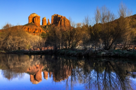 Evening sunset at Cathedral Rock at Red Rocks Crossing on Oak Creek in Sedona Arizona