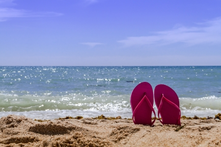Hot pink pair flip flops sticking up on a sandy beach with water and waves crashing on the beach Stock Photo - 18964260