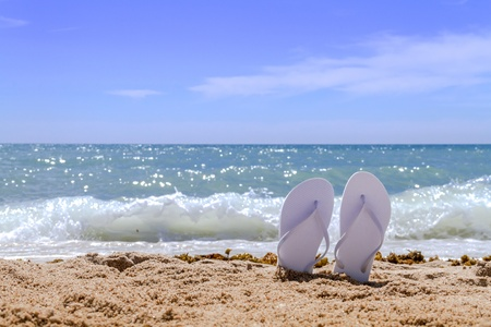 White pair flip flops sticking up on a sandy beach with water and waves crashing on the beach Stock Photo - 18964265