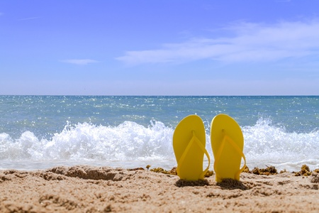 flops: Yellow pair flip flops sticking up on a sandy beach with water and waves crashing on the beach