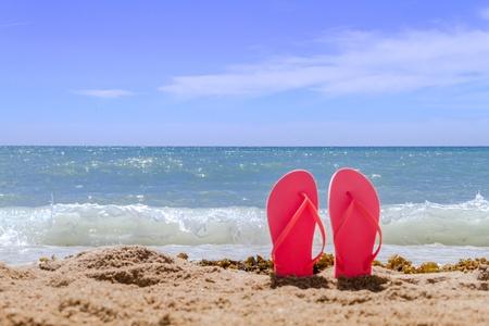 89a996bd6425  18964256 - Orange paar Flip-Flops ragten an einem Sandstrand mit Wasser  und Wellen am Strand