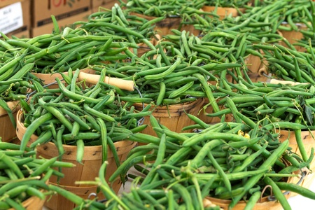 locally: Display of locally grown green beans at local farmers market Stock Photo