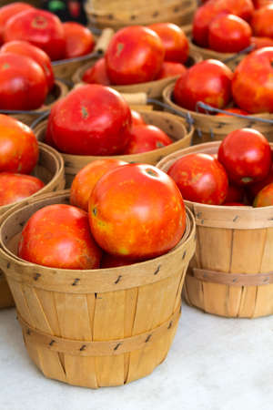 organically: Organically grown baskets full of fresh red tomatoes for sale at local farmer market