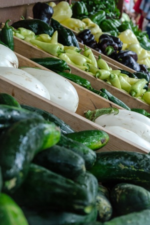 organically: Organically grown table of vegetables on display at local farmer market