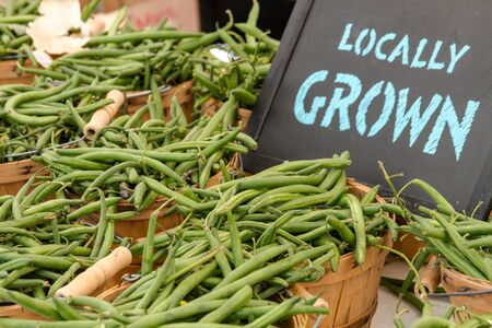 full grown: Bushel baskets full of locally grown green beans for sale at farmers market with chalkboard sign