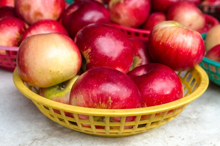 Locally grown red apples on display for sale at local farmers market photo