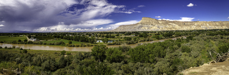 wine road: Panorama overlooking the Colorado River and the Grand Valley from Palisades Colorado